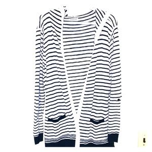Handed cardigan (navy and cream)